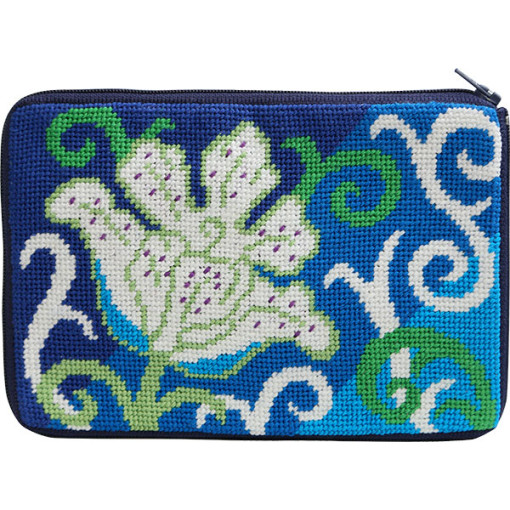 click here to view larger image of White Tulip Stitch n Zip Purse (needlepoint kits)