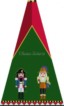 click here to view larger image of Napoleon and Winemaker Nutcracker Tree Skirt Panel (with background) (hand painted canvases)