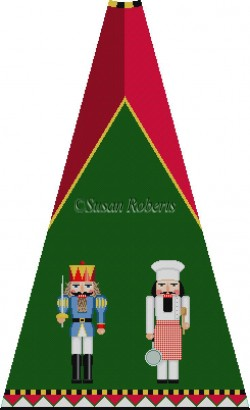 click here to view larger image of Blue Prince and Chef Nutcracker Tree Skirt Panel (with background) (hand painted canvases)