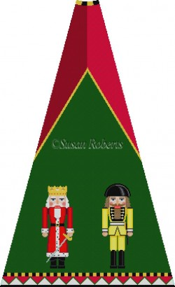 click here to view larger image of Red Ermine and Yellow Sp Guard Nutcracker Tree Skirt Panel (with background) (hand painted canvases)