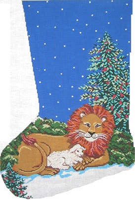 click here to view larger image of Lion and the Lamb Sock (hand painted canvases)