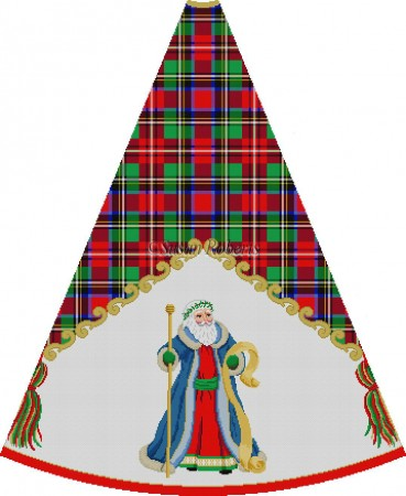 click here to view larger image of Blue Robe Santa, staff - Tartan Santa Tree Skirt (hand painted canvases)