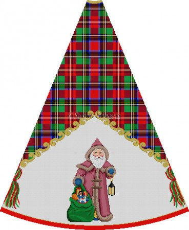 click here to view larger image of Hooded Santa with Toybag - Tartan Santa Tree Skirt (hand painted canvases)