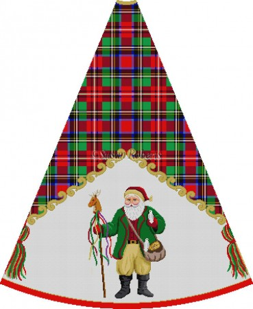 click here to view larger image of Loden Jacket Santa Feeding Birds - Tartan Santa Tree Skirt (hand painted canvases)