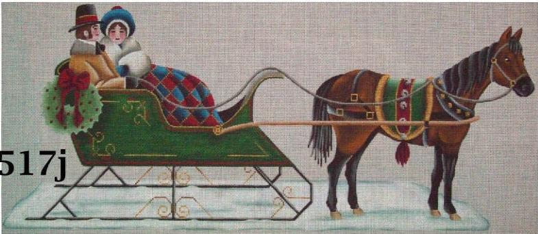 click here to view larger image of Horse and Sleigh (hand painted canvases)