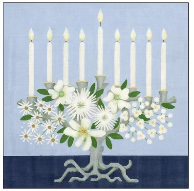 click here to view larger image of Floral Menorah (hand painted canvases)