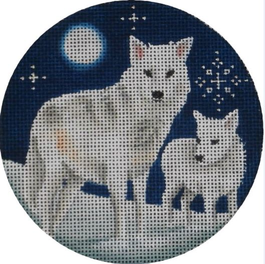 click here to view larger image of Arctic Wolves Ornament (hand painted canvases)