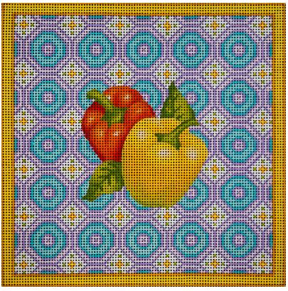 click here to view larger image of Bell Peppers Pastel Square (hand painted canvases)