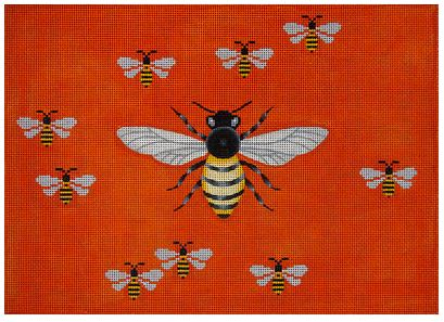 click here to view larger image of Big Buzz & Baby Bees on Red (hand painted canvases)