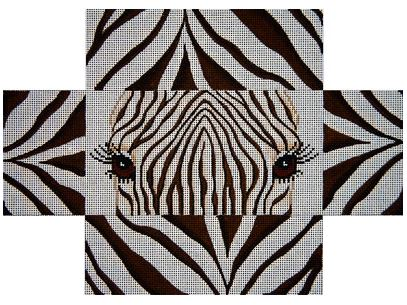 click here to view larger image of Playful Zebra Eyes and Skin Brick Cover (hand painted canvases)