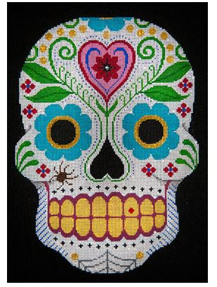 click here to view larger image of Day of the Dead with Hearts & Flowers (hand painted canvases)