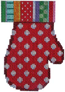 click here to view larger image of Jolly Stripe/Dots on Red Mitten (hand painted canvases)