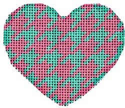 click here to view larger image of Aqua/Pink Houndstooth Mini Heart (hand painted canvases)