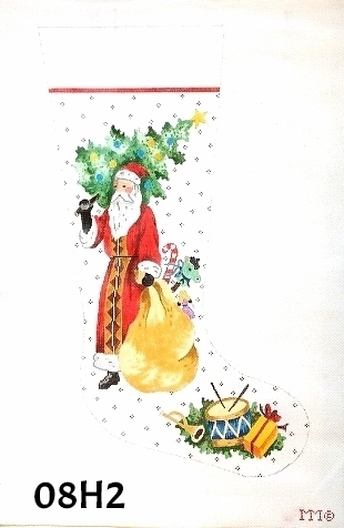 click here to view larger image of Santa Holding Christmas Tree Stocking (hand painted canvases)