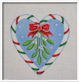 click here to view larger image of Candy Cane Heart, Mistletoe (hand painted canvases)