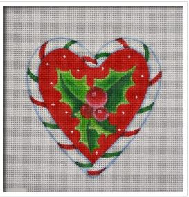 click here to view larger image of Candy Cane Heart, Holly (hand painted canvases)