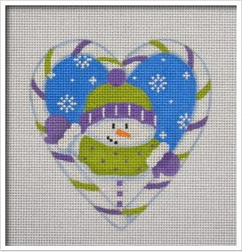 click here to view larger image of Candy Cane Heart, Snowman (hand painted canvases)
