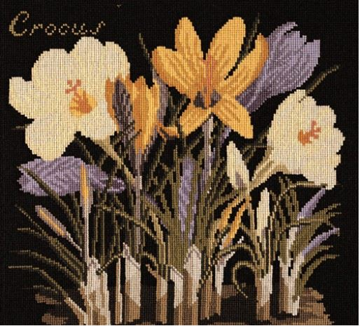 click here to view larger image of Crocus (on Black Background) (needlepoint kits)