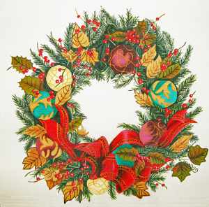 click here to view larger image of Christmas Ornament Wreath (hand painted canvases)