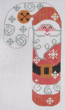 click here to view larger image of Bell Santa Candy Cane Ornament (hand painted canvases)