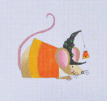 click here to view larger image of Candy Corn Witch Mouse (hand painted canvases)