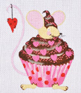 click here to view larger image of Valentine Cupcake Mouse (hand painted canvases)