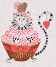 click here to view larger image of Valentine Cupcake Cat (hand painted canvases)