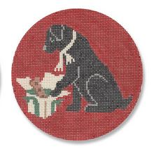 click here to view larger image of Christmas Morning Black Lab (hand painted canvases)