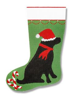 click here to view larger image of Black Lab Stocking (hand painted canvases)