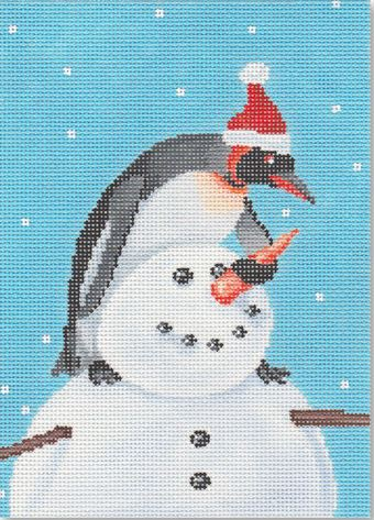 click here to view larger image of Building a Snowman (hand painted canvases)