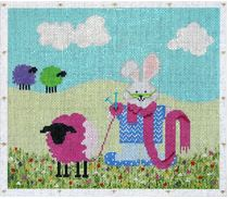 click here to view larger image of Knitter Bunny (hand painted canvases)