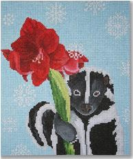 click here to view larger image of Skunk with Amarylis (hand painted canvases)