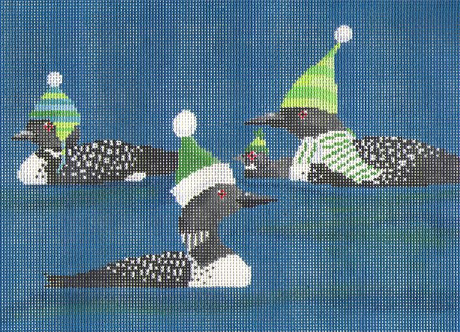 click here to view larger image of 3 Loons (hand painted canvases)