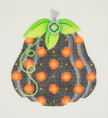 click here to view larger image of Halloween / Pumpkin / Black with Orange Polka Dots / Green Leaves / Green Jewel  (hand painted canvases)