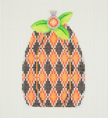 click here to view larger image of Halloween / Pumpkin / Black & Orange Diamond Pattern / Green Leaves / Orange Jewel  (hand painted canvases)