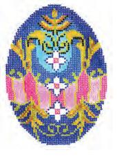 click here to view larger image of Cobalt Blue with Pink and Gold Faberge Egg (hand painted canvases)