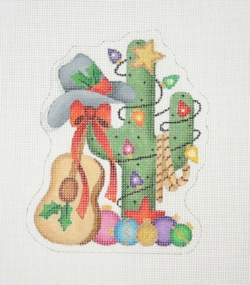 click here to view larger image of Christmas Ornament / Cactus with Christmas Ornaments, Cowboy Hat & Guitar  (hand painted canvases)