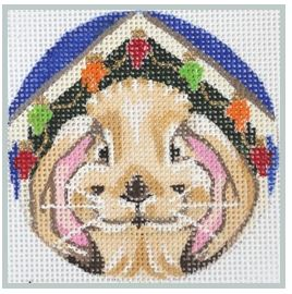 click here to view larger image of Bunny Decorated Hutch for Xmas (hand painted canvases)