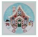 click here to view larger image of Gingerbread House w/snowman Ornament (hand painted canvases)