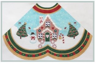 click here to view larger image of Gingerbread House w/star red  - Tree Skirt Panel (hand painted canvases)