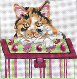click here to view larger image of Calico Cat in Pink Striped Purse (hand painted canvases)