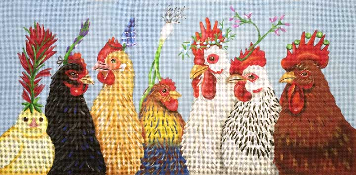 click here to view larger image of Party In the Coop (hand painted canvases)