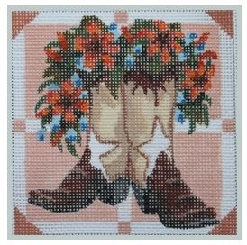 click here to view larger image of Brown Boots with Tiger Lilies (hand painted canvases)