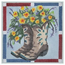 click here to view larger image of Brown Boots with Yellow Flowers (hand painted canvases)