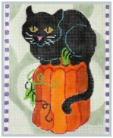 click here to view larger image of Black Cat Perches on Pumpkin (hand painted canvases)