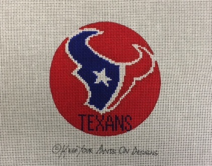 click here to view larger image of Houston Texans  Logo Ornament (hand painted canvases)