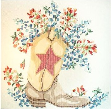 click here to view larger image of Wild Flower With Boot - 18M (hand painted canvases)