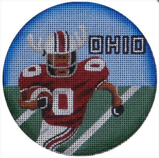 click here to view larger image of Football Reindeer Ornament (Ohio) (hand painted canvases)
