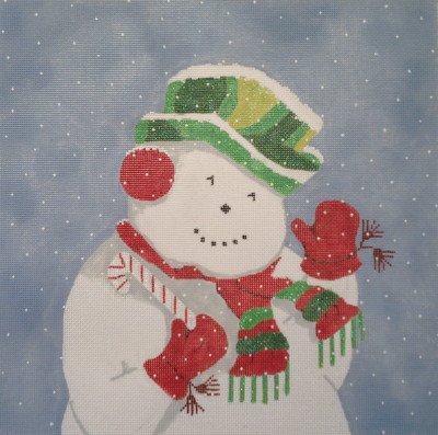 click here to view larger image of Festive Glittery Snowman (hand painted canvases)
