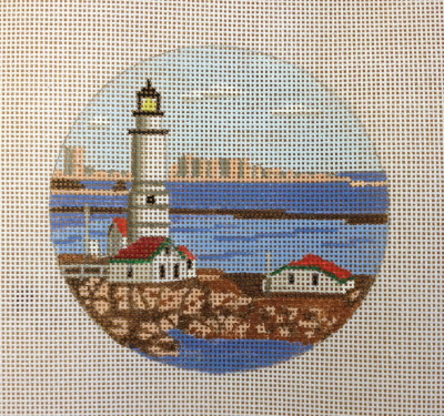 click here to view larger image of Boston Light Ornament (hand painted canvases)